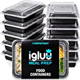 [10 Pack] 1 Compartment BPA Free Reusable Meal Prep Containers - Plastic Food Storage Trays with Airtight Lids…