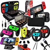 Orzly Accessories Bundle Kompatibel med Nintendo Switch - Geek Pack: Case & Screen Protector, Joycon Grips & Racing Wheels, C