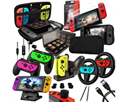 Orzly Accessories Bundle Compatible with Nintendo Switch - Geek Pack: Case & Screen Protector, Joycon Grips & Racing Wheels,