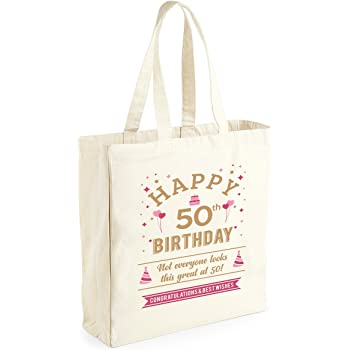 50th Birthday Keepsake Funny Gift For Women Ladies Novelty Female Shopping Bag Present Tote Idea