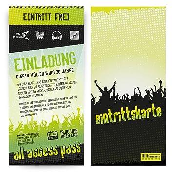 Einladungskarten Zum Geburtstag (50 Stück) Als Konzertkarte Konzert  Festival Ticket
