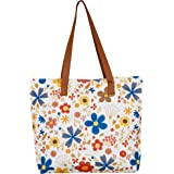 COLES Women's Floral Tan Flower Digital Rt Printed Tote Bag (Multicolour)