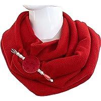 Morbidissimo Scaldacollo Ad Anello Chiuso Colore Rosso Impreziosito Da Spilla Abbinata Con Bottone Artigianale. Prodotto…