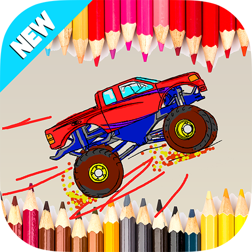 Kids Coloring Hot Monster Truck - 4x4 Wheels