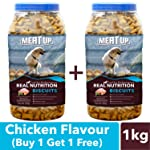 Meat Up Chicken Flavour, Real Chicken Biscuit, Dog Treats -500g Jar (Buy 1 Get 1 Free)