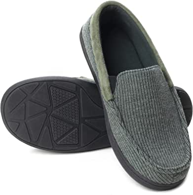 ULTRAIDEAS Men's Cozy Memory Foam Moccasin Slippers with Anti-Skid Indoor Rubber Sole, Breathable Lightweight Knitted Closed Back House Shoes