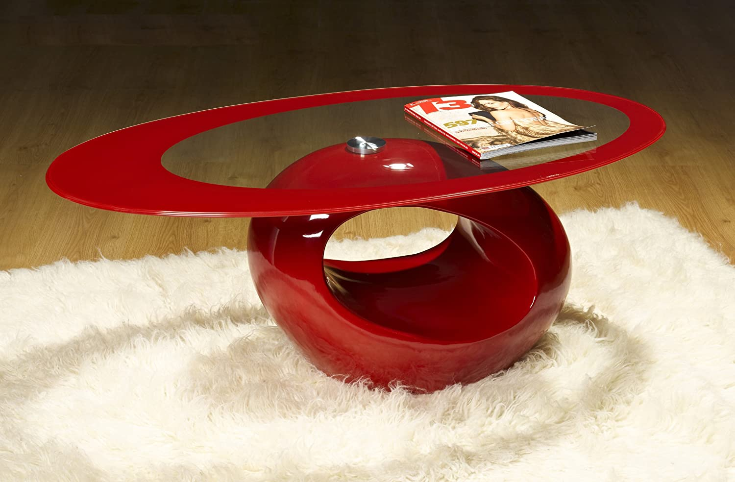 Designer Oval Coffee Table RED Amazon Kitchen & Home