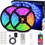 Striscia LED 10M Musicale, ALED LIGHT Nastri LED Bluetooth RGB 300 led IP65 Impermeabile 12V, con Controller Bluetooth + Tele