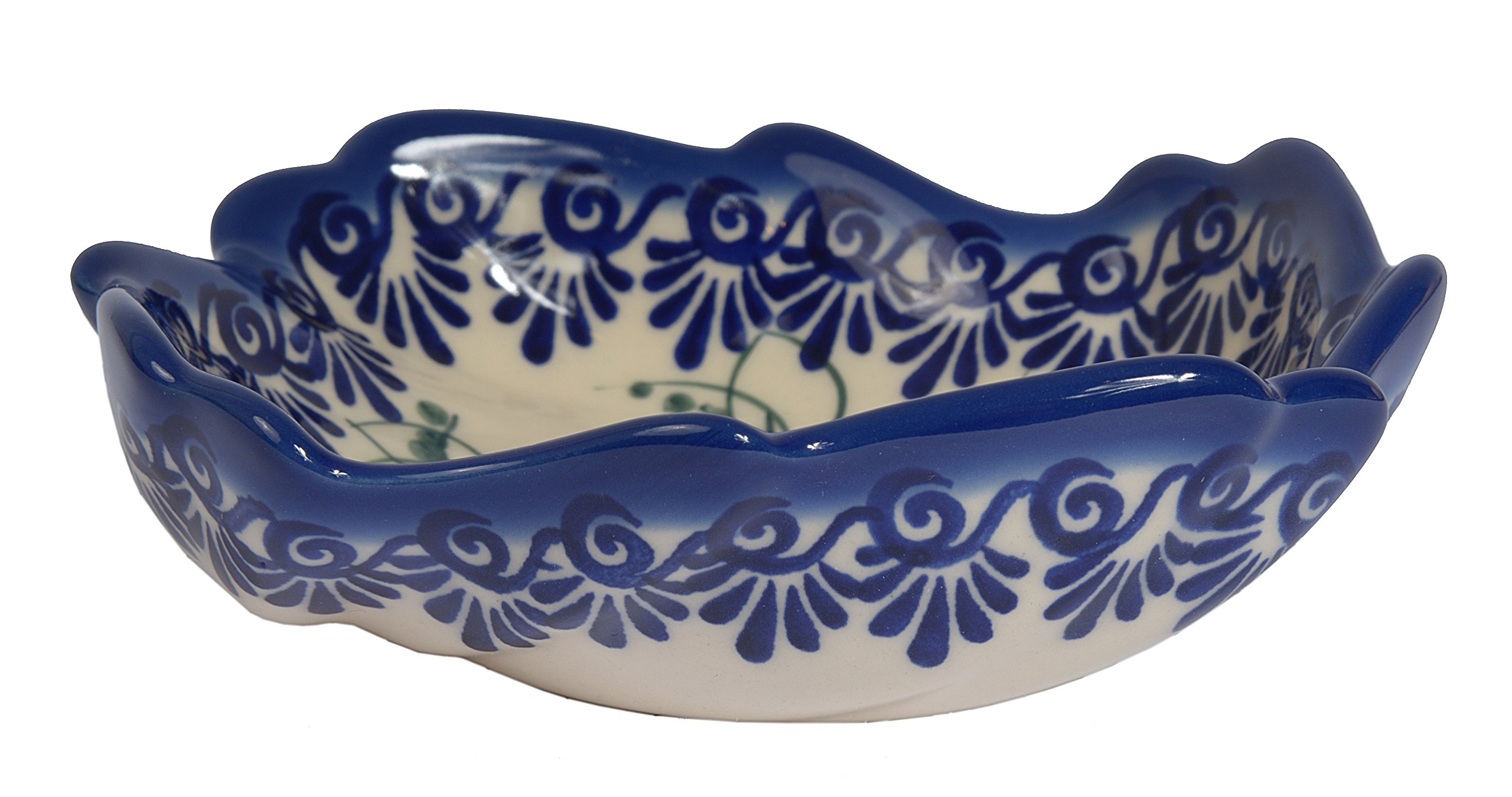 Traditional Polish Pottery, Decorative Snack & Dip Bowls, Handcrafted Ceramic Shell Bowl (200ml), Boleslawiec Style Pattern, M.501.PANSY