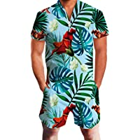 IDGREATIM Men Romper 3D Graphic One Piece Romper Casual Zipper Short Sleeve Jumpsuit Overalls