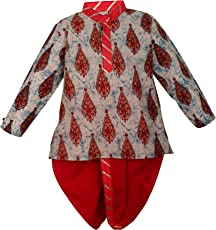 BownBee Sanganeri Printed Cotton Dhoti Kurta for Boys - Red