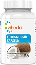 Vihado Kokosnussöl Kapseln hochdosiert, natives + reines Kokosöl ohne Zusatzstoffe, 6 Monate Sparpaket, 180 Kapseln