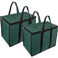 NISUN 2 Pack Classic Big Handy File Cloths Storage Bag Organizer for Books Magazine (Green, 44.4x25.4x30.4 cm)