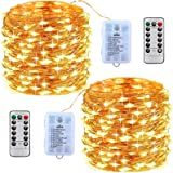MOOING Guirnalda Luces Pilas,10M 100 LED[2 PCS],Cadena de Luces Impermeable,Mando a distancia con 8 modos,Luces Navidad y Luc