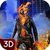 Flaming Skull Spirit Superhero Criminal City Fighting Battle