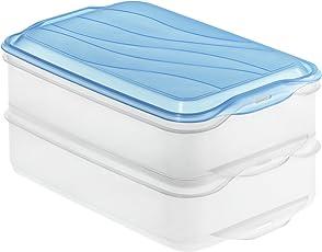 Rotho 1701906644 Frischhaltedose Foodcenter RONDO, Aufbewahrungsbox Aufschnitt 2-teilig aus Kunststoff in transparent/blau, Inhalt 2 x 1,35 Liter, ca. 23,5 x 15,5 x 11 cm