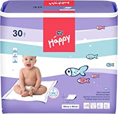 Bella Baby Happy Wickelunterlagen 60 x 60 cm, 2er Pack (2 x 30 Stück)