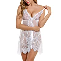 wearella Women's Babydoll Lingerie Sexy Honeymoon Nightgowns for Bride Exotic Lace Chemise Negligees