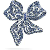 Bling Jewelry Grande Stile Vintage Vittoriano Londra Blu Chiaro Nastro Filigree Cristallo Scarf Bow Brooch Pin per Donne Arge