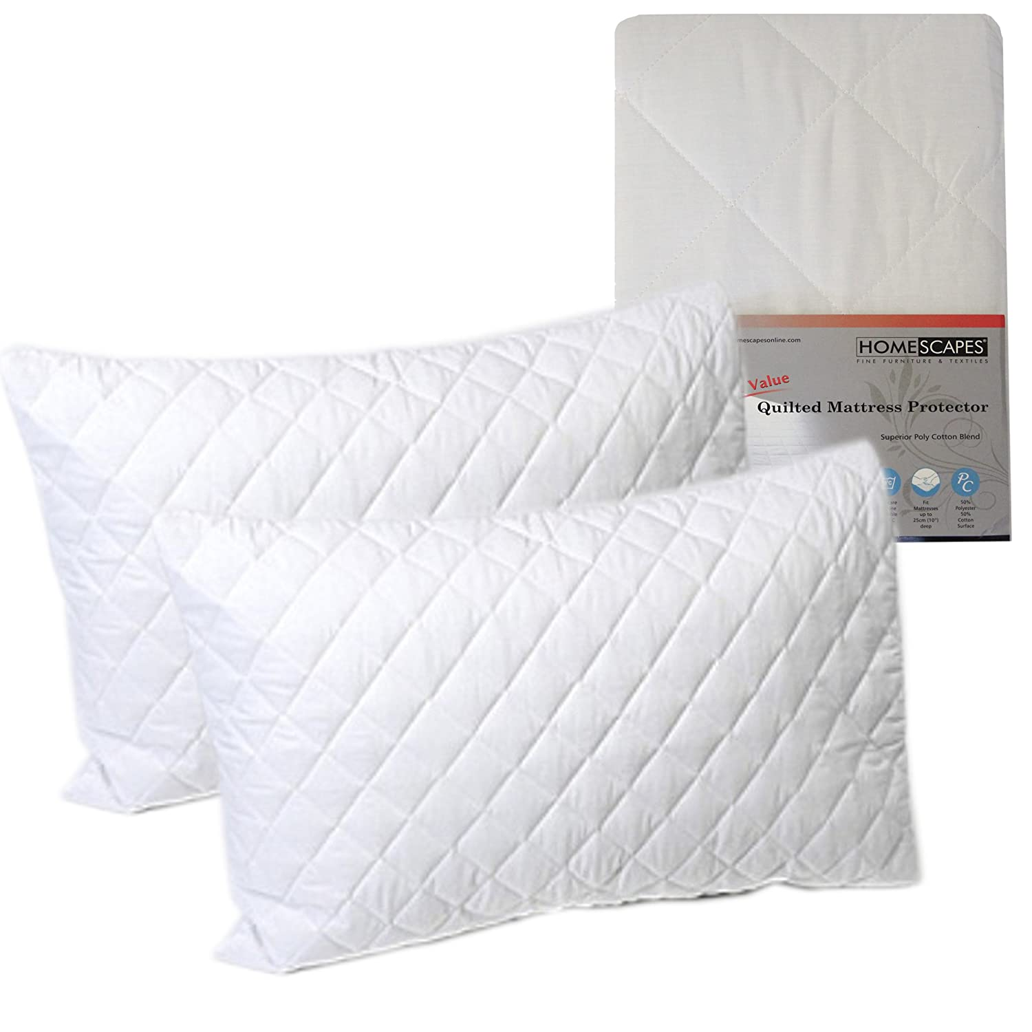 LIMITED OFFER **Homescapes Polycotton Quilted Pillow Protectors 2 ... : quilted pillow protector - Adamdwight.com