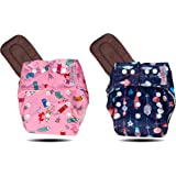 Haihabibi Reusable Washable pocket cloth diaper combo for babies (2 diapers, 2 Insert pads; 3 months to 3 years) with ultra a