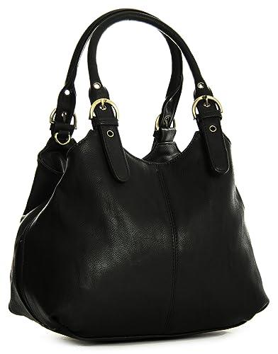 Big Handbag Shop Womens Medium Size Plain Multi Pocket Shoulder ...