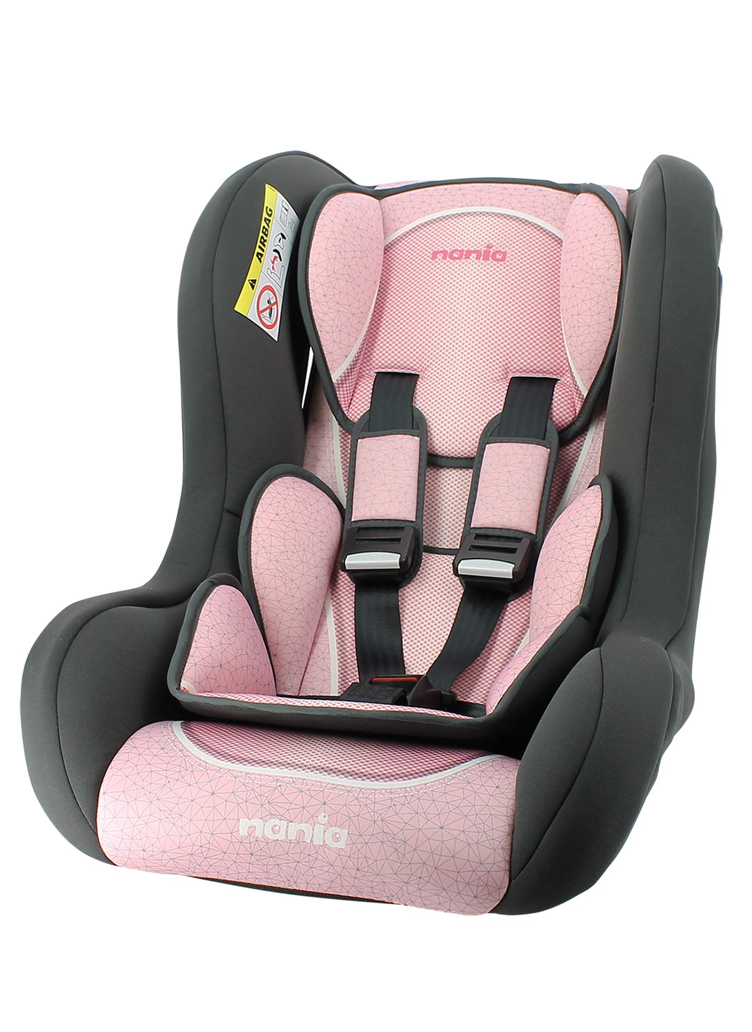 Siège auto Trio Grp 0/1/2 Nania Skyline rose nania Group 0/1/2 TRIO car seat for children from birth to 25kg, approved according to ECE R44/04, manufactured and tested in France. The TRIO car seat is positioned facing the road from 0 to 13kg, then facing the road from 9kg. It is equipped with a 5-point harness. The car seat is attached to the car with the 3-point seat belt. The headrest is curved for lateral protection in case of impact. 1