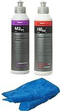 Koch Chemie Politur Set Heavy Cut H8.02 Schleifpolitur + Koch Chemie M2.01 Hochglanz Antihologrammpolitur mit Atom Mikrofasertuch