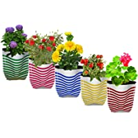 Trust Basket Colourfully Stripe Grow Bag (Multicolour, Pack of 5)