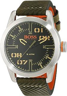 5fb90fcb0433 Montre Hommes Boss Quartz - Affichage Analogique bracelet Cuir Vert et  Cadran Noir 1513415