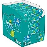 Pampers Fresh Clean Billendoekjes, 1200 Babydoekjes, met Frisse Geur, Ook Voor Handen en Gezicht, Dermatologisch Getest (15 x