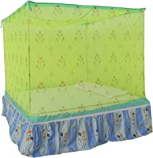 Homecute Double Bed Cotton Edge Traditional Printed Mosquito Net 6 X 7 ft – Green