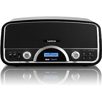 Lenco DR-05 BT Retro DAB+ Radio mit Bluetooth und USB Lader (RDS, 30 Watt RMS, 2 Lautsprecher, Holzgehäuse, AUX, Fernbedienung) schwarz