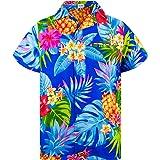 Camisa Hawaiana enrrollada | Hombres | XS-6XL | Manga Corta | Bolsillo Frontal | Hawaiano-Imprimir | Ananas
