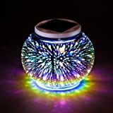 Color Changing Solar Powered Glass Mosaic Ball Garden LED Lights, Waterproof Rechargeable Solar Table Lights for Garden…