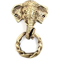 Two Moustaches Elephant Design Moulded Ring Brass Door Knocker