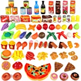 joylink 139pcs Alimentos Juguetes, Juguetes Cortar Frutas Verduras Pizza Comida Juguete de Plástico para Niños Juguetes Tempr