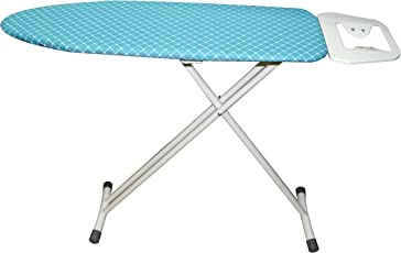 ATHENACREATIONS Fabric and Steel Ironing Board with Iron Holder, Safety Lock and Adjustable Height (Blue, 92x31cm)