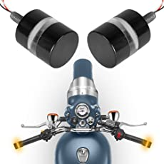 Autofy Universal Super Bright Metal Round Shaped Bike Handlebar Light Indicators/Turn Signal Grip Lights (Black, Set of 2)