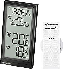 Bresser Wetterstation Meteo Temp mit DCF Funkuhr und Datumsanzeige für Innen- und Außentemperatur mit Wettertrend-Anzeige inklusive Außensensor
