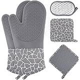 Wanderlife pannenlappen en ovenwanten, siliconen set, antislip, hittebestendige pannenlappen, handschoen voor bakken koken gr