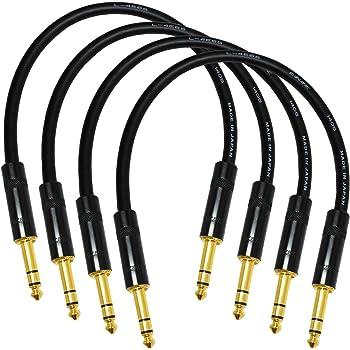 0.5 Meter Canare L-4E6S Balanced Patch Cables Neutrik Rean TRS Plugs 4 Units