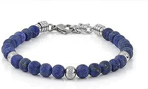 10:10 Bracciale con pietre naturali lapislazzuli frost da 6 mm, beads in acciaio inox, bracciale molto resistente prodotto in Italia