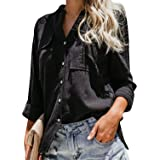 FUERI Womens Long Sleeve Shirt Oversized V Neck Blouse Button Down Shirt Casual Loose Summer Tops