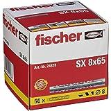 FISCHER plug SX, maat 8 x 65 mm, zonder flens, verpakking van 100 stuks,