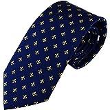 Cravatta elegante blu scuro fleur de lis seta, Cravatta uomo elegante di Pietro Baldini