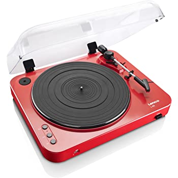 Lenco L-85 Red   33 & 45 RPM Semi-Automatic Belt Drive USB Turntable for Vinyl with Integrated Stereo Pre-Amplifier and Moving Magnetic Cartridge (MMC) - Red Record Player