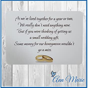 50 Personalised Wedding Money Poemhoneymoon Wish Poems Cardgift