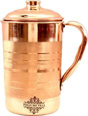 Indian Art Villa Pure Copper Water Jug with Health Benefits, 1700ml (Brown, IAV-C-1-107)