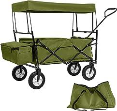 TecTake Faltbarer Bollerwagen mit Dach und Extra Tragetasche - Diverse Farben - (Grün | Nr. 402317)
